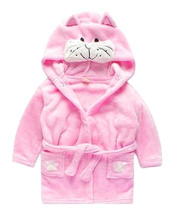 22b93c84e Amazon.com  Toddler Kids Cartoon Hooded Plush Robe Animal Pajamas ...