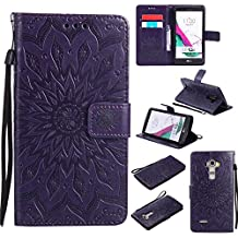 LG G4 Case,Ngift [Sun Flower] Magnetic PU Leather Flip Wallet Case Credit Card Slots Protective Cover with Kickstand Feature for LG G4 [Purple]