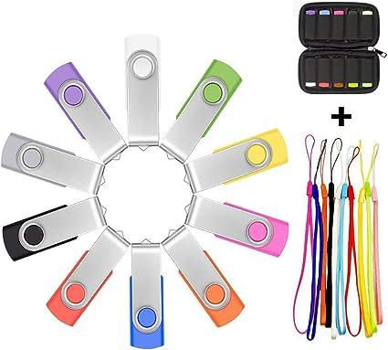 10 Pack 1MB-16GB USB Flash Drives Memory Stick Swivel Bulk USB Drive 7 Colors