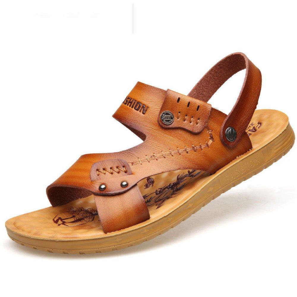 Verano Cuero Suave Sandalias Hombres Transpirables Zapatillas Zapatos De Playa para Hombres 42 EU|Yellow