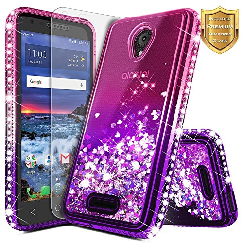 Alcatel IdealXcite Case, Verso/Raven LTE (A574BL) /CameoX (4G LTE) /U50 (5044R) with Tempered Glass Screen Protector, NageBee Glitter Liquid Sparkle Bling Floating Waterfall Cute Case -Pink/Purple