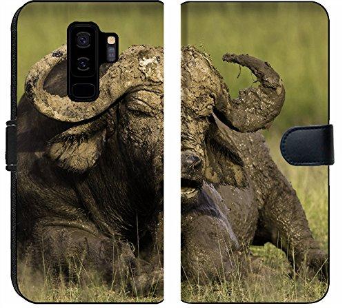 Liili Premium Samsung Galaxy S9 Plus Flip Micro Fabric Wallet Case African Cape Buffalo Photo 20215705 ()