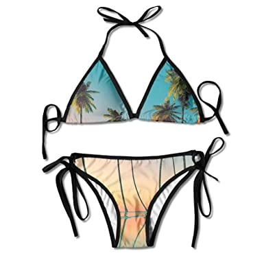 3908472a7b IGENERAL Summer Bikini Beach Suit Palm Trees Pineapples Women 2 pcs Swimsuit  Top
