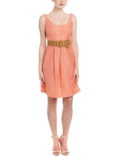 Nine West Womens Linear Burnout Topstitch Dress with Pleats