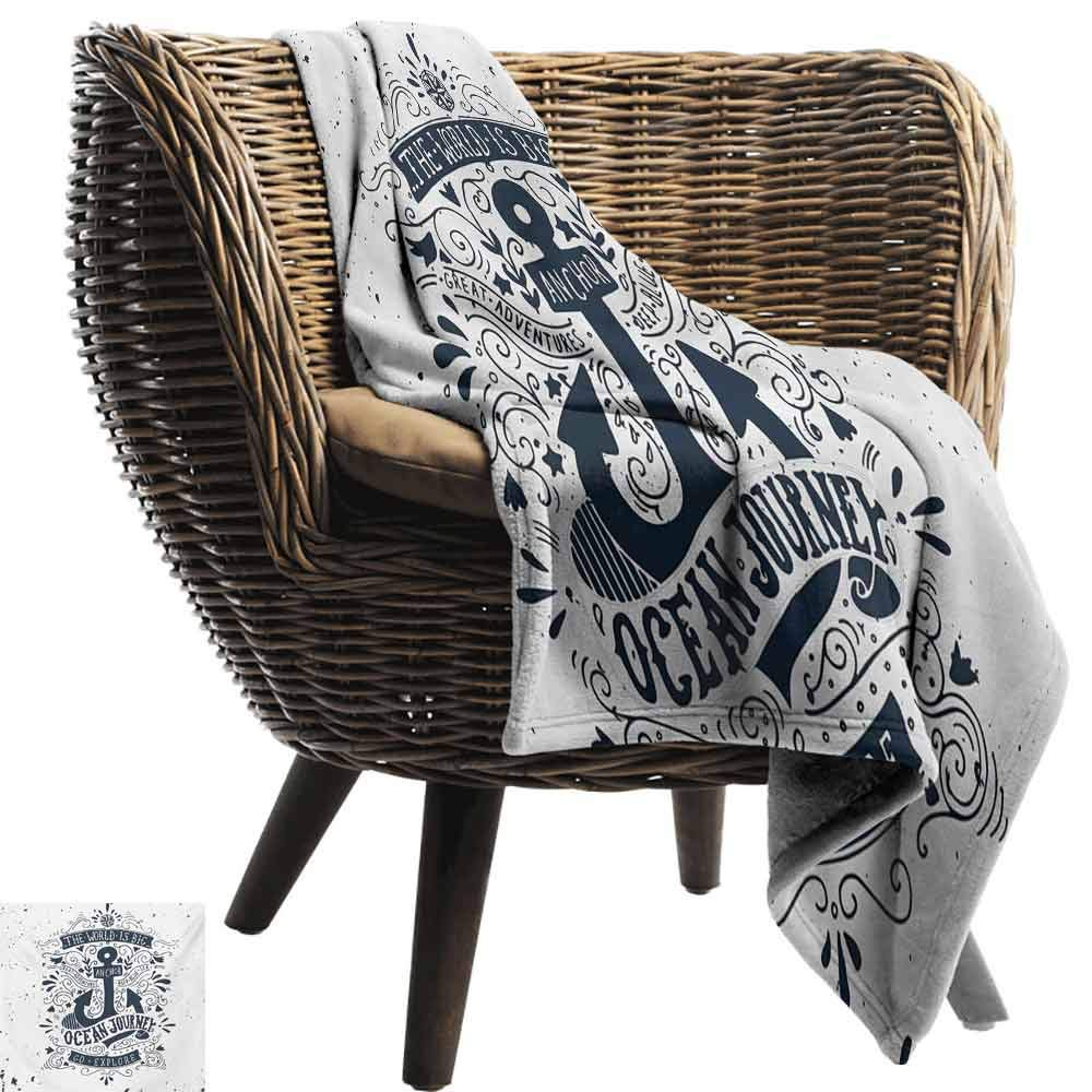 Anchor Camping Blanket,Adventure and Exploration Themed Arrangement with Swirls and Paisley Shapes Double-Sided Flannel Fleece Made with Plush Microfiber (62''x60'')-Dark Blue and White