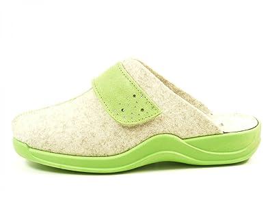 Rohde 2319 Vaasa-D Schuhe Damen Hausschuhe Pantoffeln Filz, Schuhgröße:41, Farbe:Rot