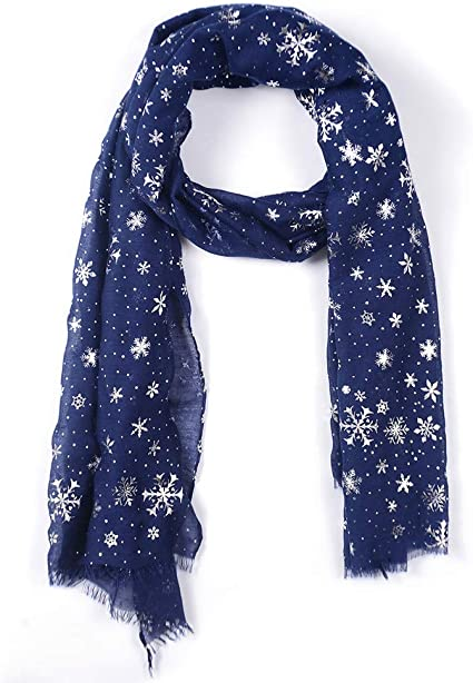 Clearance Ladies Blue and red Winter scarf with reindeers