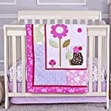 Dream On Me 3 Piece Set Reversible Portable Crib Bedding Set, Spring Time
