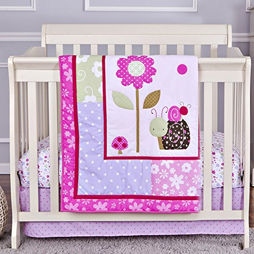 (Dream On Me 3 Piece Set Reversible Portable Crib Bedding Set, Spring Time)