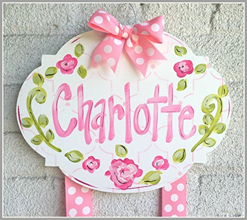 Personalized Hair Bow Holder Pink and Green