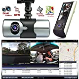 Indigi® HD Dash-Cam Dual Camera Front+InCab Driving Recorder Car DVR GPS Logger G-Sensor