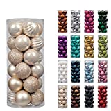 "KI Store 24ct Christmas Ball Ornaments Shatterproof Christmas Decorations Tree Balls Pastel Small for Holiday Wedding Party Decoration, Tree Ornaments Hooks included 1.57"" (40mm Champagne)"