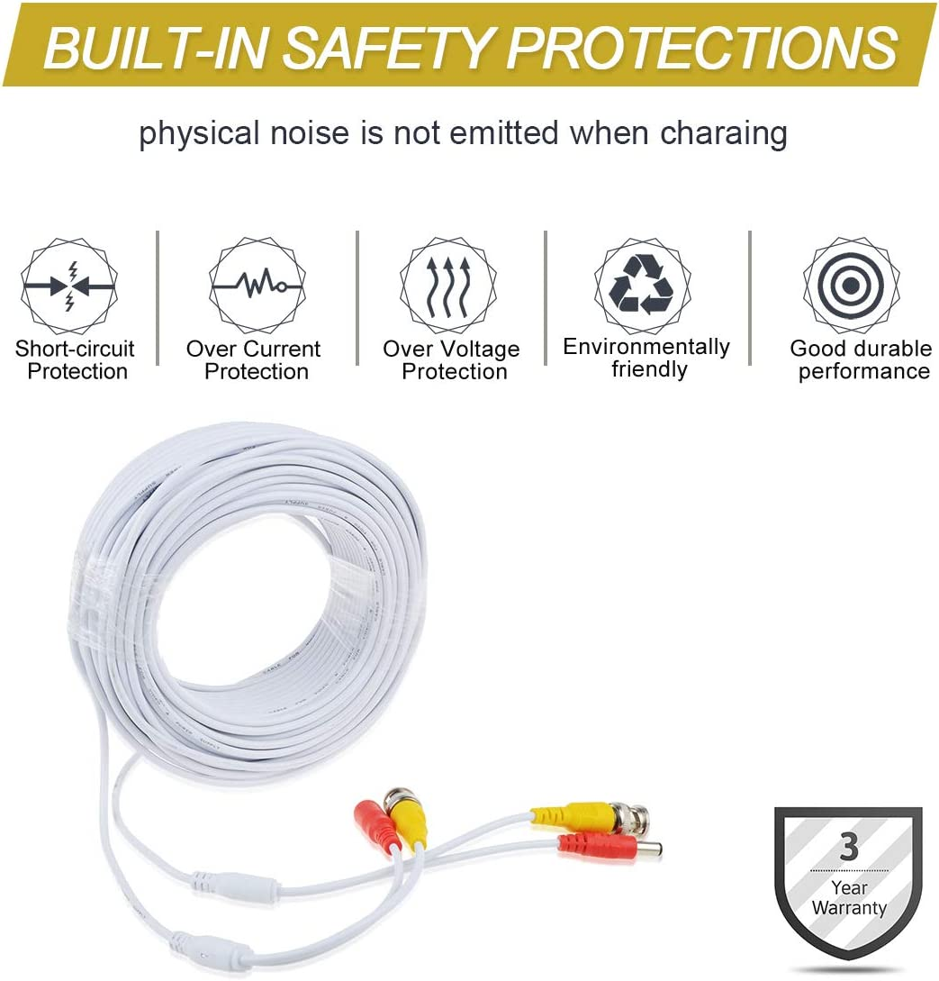 TOP White 150ft BNC Extension Cable for Q-See QTH8056D 1080p HD Dome Security Camera