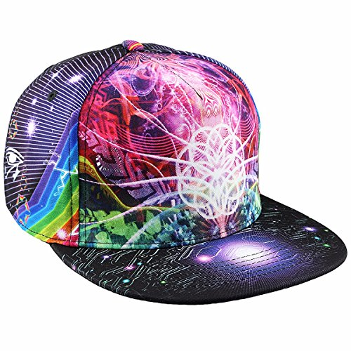 moonsix Unisex Snapback Hats,Adjustable Flat Bill Baseball Caps Dancing Hip Hop Cap,Style I Bill Adjustable Baseball Hat