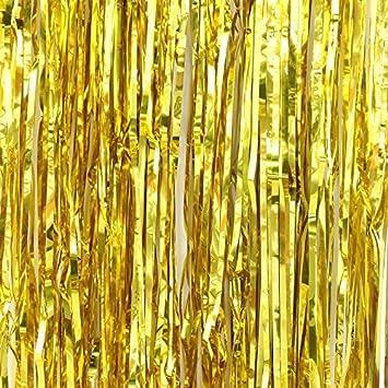 Gold FINE CUT Metallic Foil Shimmer Door Curtains