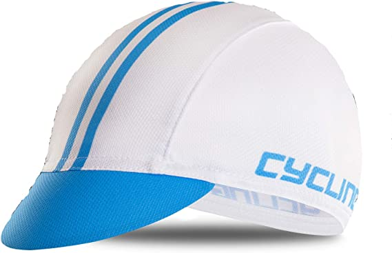 Weimostar Polyester Men Cycling Bike Bicycle Cap MTB Hat Sweat Wicking Outdoors Breathable Fits Under Helmets White Blue
