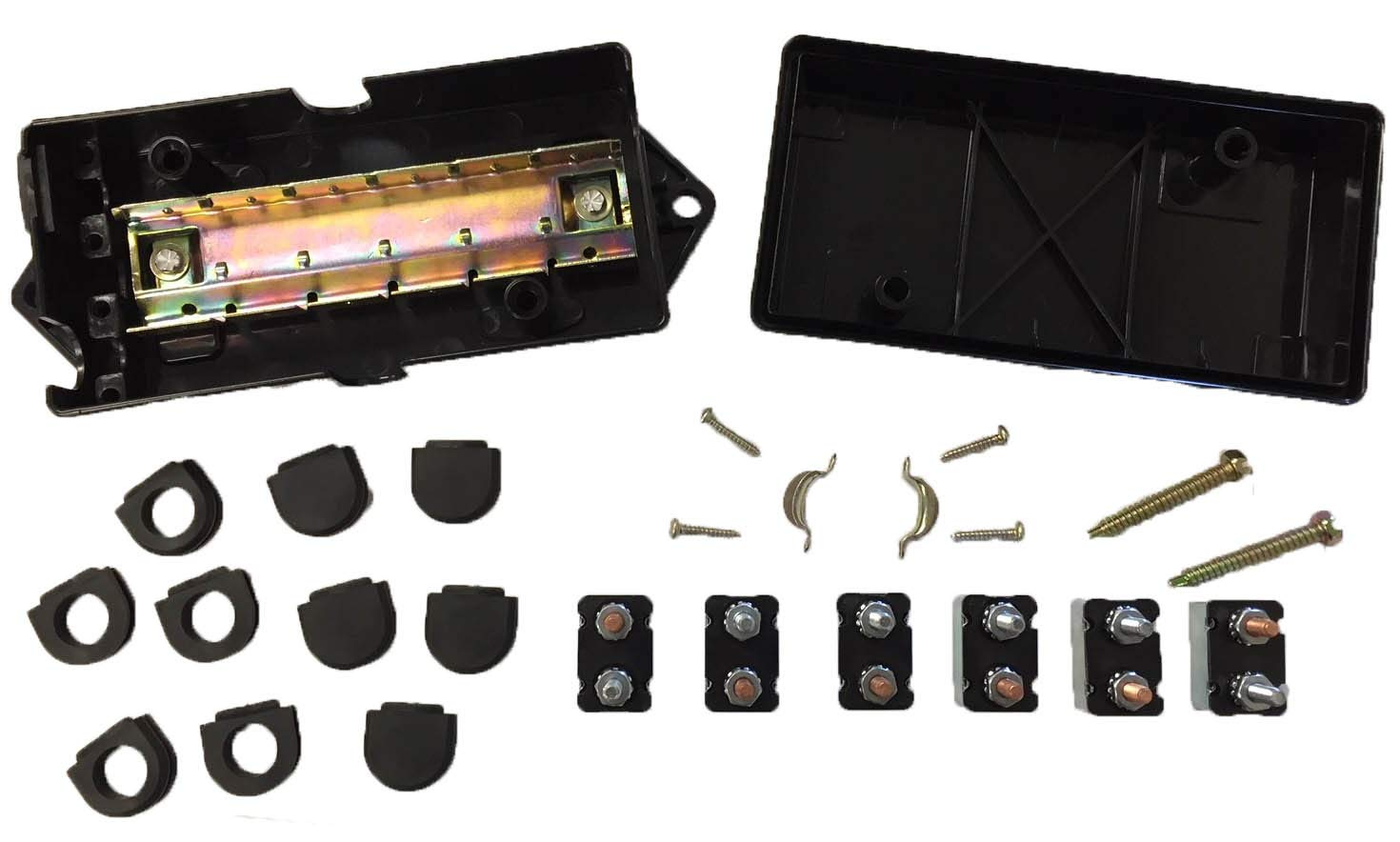 Truck Upfitters' Trailer Tongue Enclosed 12V Junction Box with 6 Circuit Breakers for Trailers with 6-Way and 7-Way Connectors. Connects Lights, Brakes, and 12 Volt Power to 7 or 6 Pin Trailer Plug.