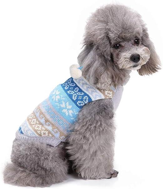 FONLAM Jersey para Perro Cachorro Gato Chaleco Disfraz Ropa Traje de Fiesta Copos de Nieve Navidad Mascota Perro (S, Azul): Amazon.es: Productos para mascotas