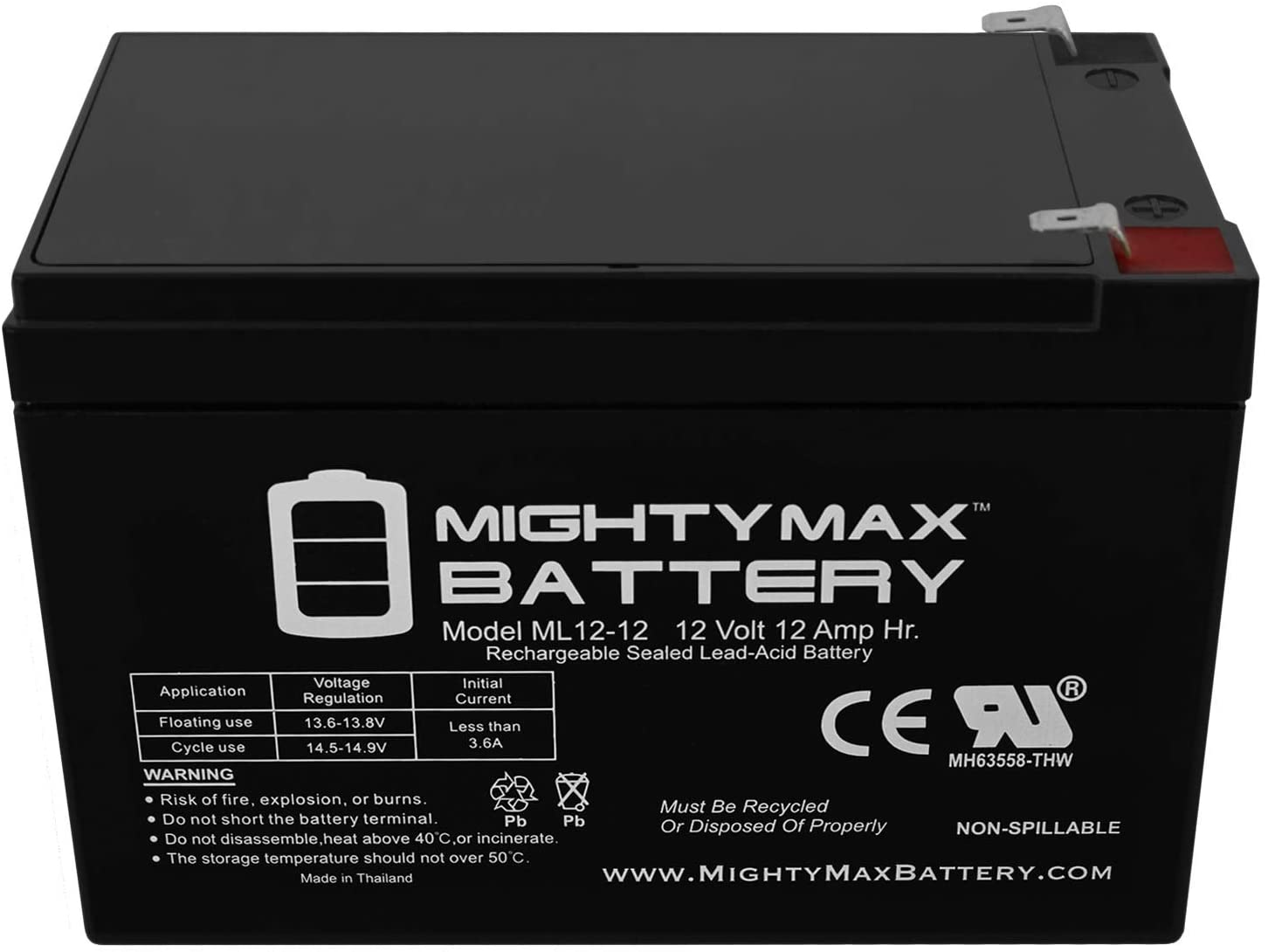 12V 12AH F2 UPS Battery for Minuteman Pro 1000i 3 Pack Brand Product Mighty Max Battery ML12-12