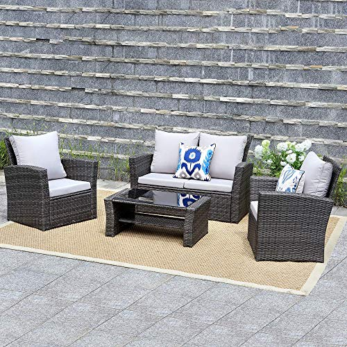 (Wisteria Lane Outdoor Patio Furniture Set,5 Piece Conversation Set Wicker Sectional Sofa Couch Rattan Chair Table,Gray)