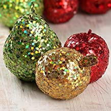 Factory Direct Craft 6 Piece Collection of Glitzy Glittered Artificial Apples, Pears, and Pomegranates for Holiday and Seasonal Decor