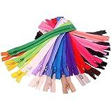 50x Chytaii Fermeture Eclair Tirette Zip Accessoire de Couture Mercerie en Nylon Multicolore Aléatoire 20cm