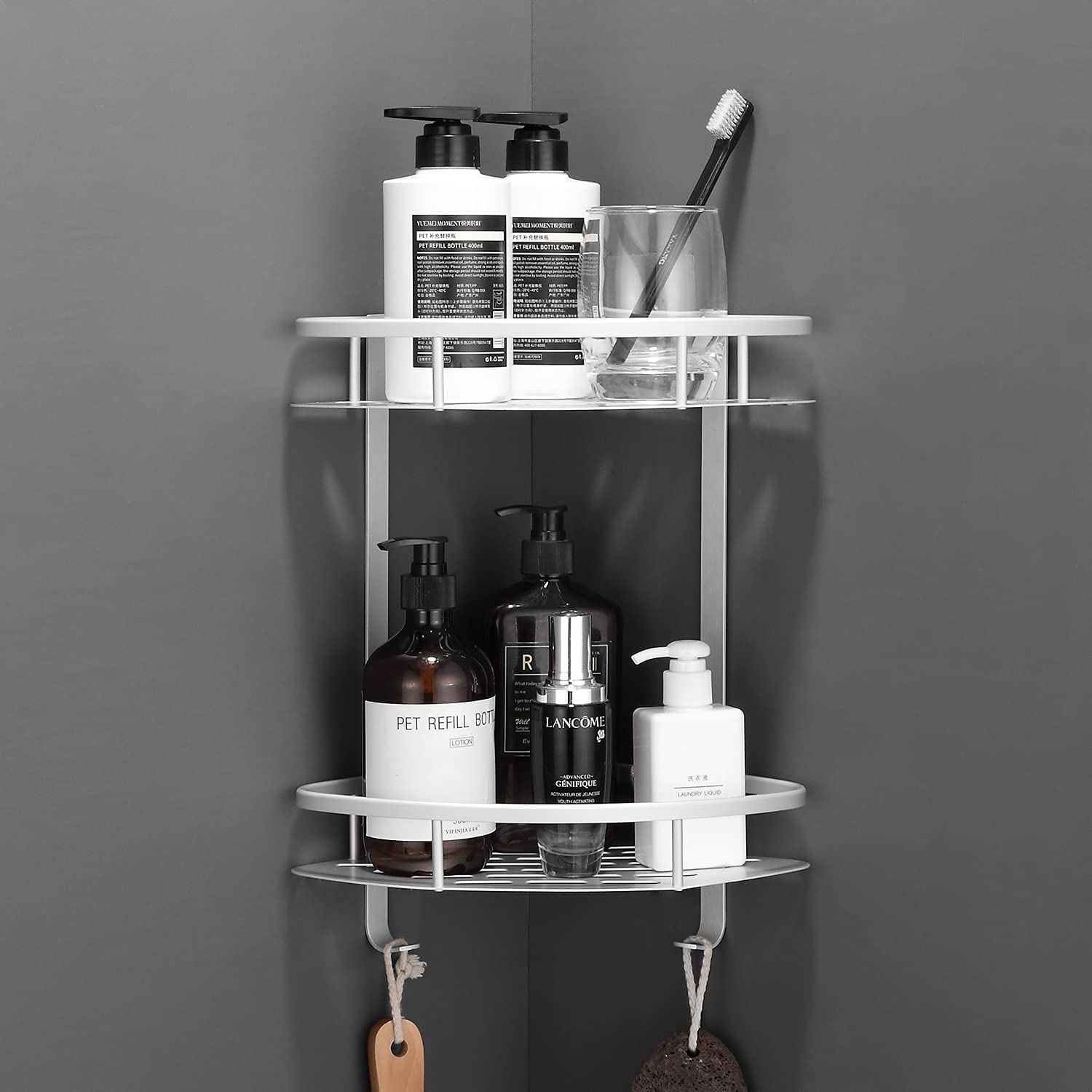 Flowmist 2 Tiers Wall Mounted Aluminum Corner Shower Caddy $10.97 Coupon