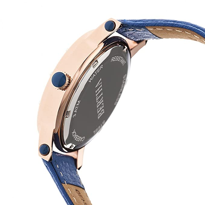 Amazon.com: Bertha Betsy MOP Leather-Band Ladies Watch - Rose Gold/Blue: Bertha: Watches