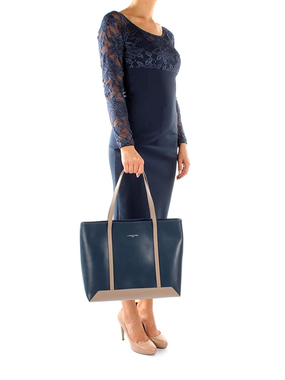 e5c1460731b05 Lancaster Tasche Nao 430-05-Bleup Tourt Damen Leder Handtasche Shopper  Schultertasche Tragetasche Blau Beige (35