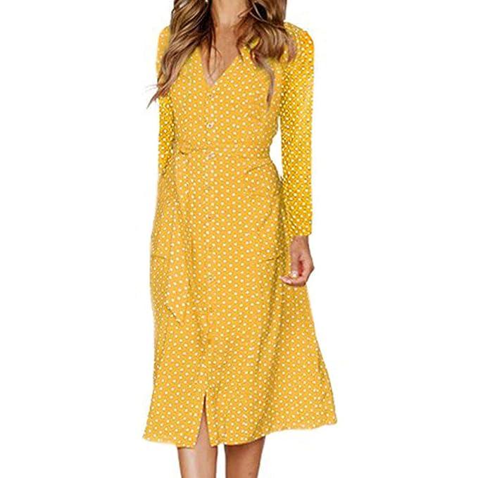 Damark(TM) Vestidos Mujer Impresión de Puntos Vestido de Largo Maxi Falda de Manga Larga Fiesta Playa Sundress: Amazon.es: Ropa y accesorios