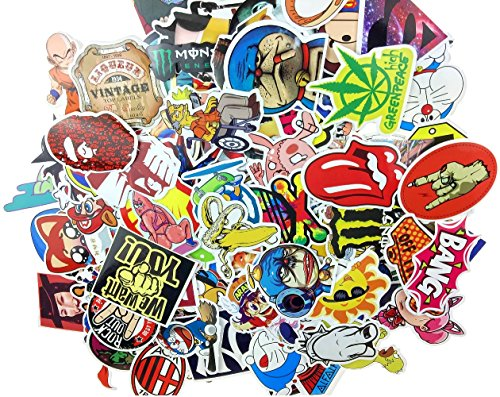 Evinis - (Pack of 150) Random Cool Music Film Vinyl Skateboard Guitar Travel Case Sticker Lot Pack Decals ()