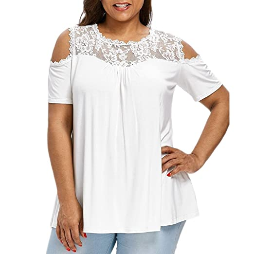e0aef455ee1797 FEITONG Fashion Womens Plus Size Lace Cold Shoulder Short Sleeve T-Shirt  Tops, XL-5XL at Amazon Women's Clothing store: