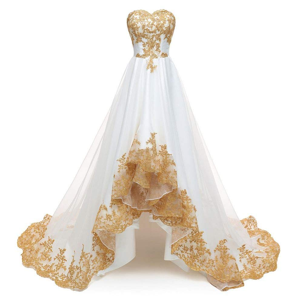 WEDDING FORMAL Sleeveless Golden Appliques Ball Gown Evening Prom Party Dress