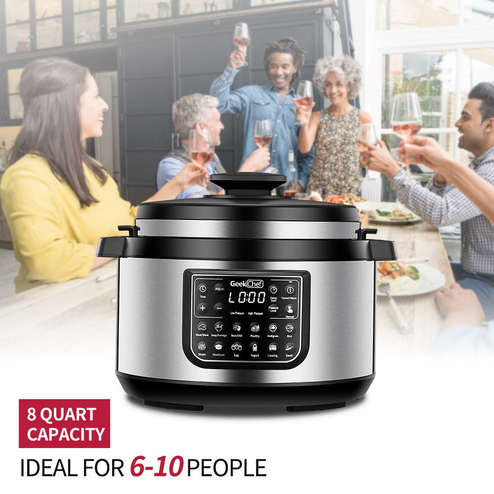 Geek Chef 8 quart OVAL shape multi-functional electric pressure cooker.New technology,designed with non stick oval inner pot, cool-touch handles, EZ-Lock,slower cooker,rice cooker combination by  (Image #7)