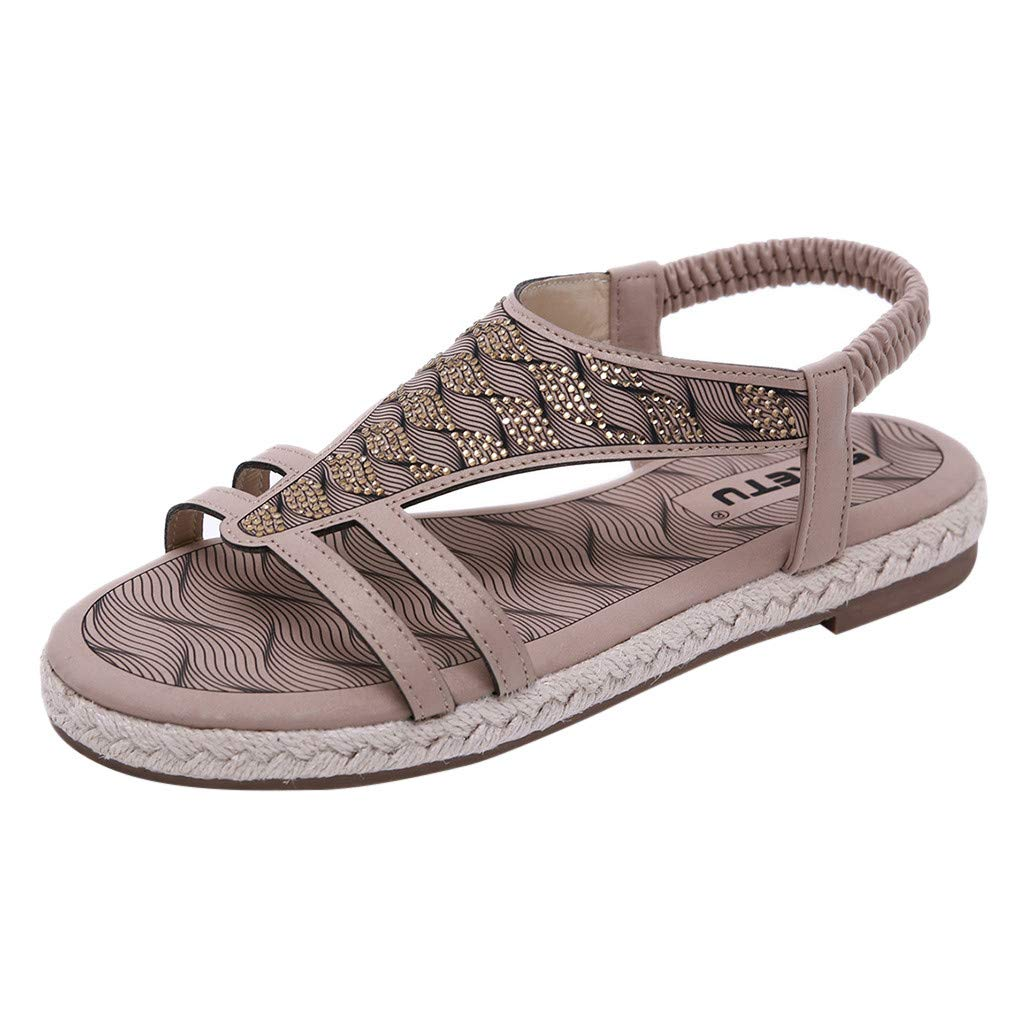 Sonmer Women's Crystal Bohemian Sandals, Fashion Buckle Beach Roman Sandals Shoes (Beige, 5 M US)
