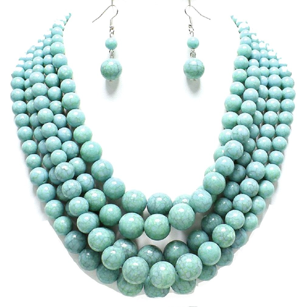 Statement Layered Strands Turquoise Stone-simulated Pearl Beads Necklace Earrings Set Gift Bijoux