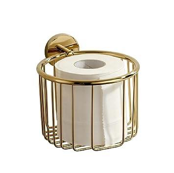 Toallas de papel DorÉ de estilo europeo, cesta de cobre sólido hacen el papel en rollo jaula, baño y cocina, Estantes, versátil Golden: Amazon.es: ...