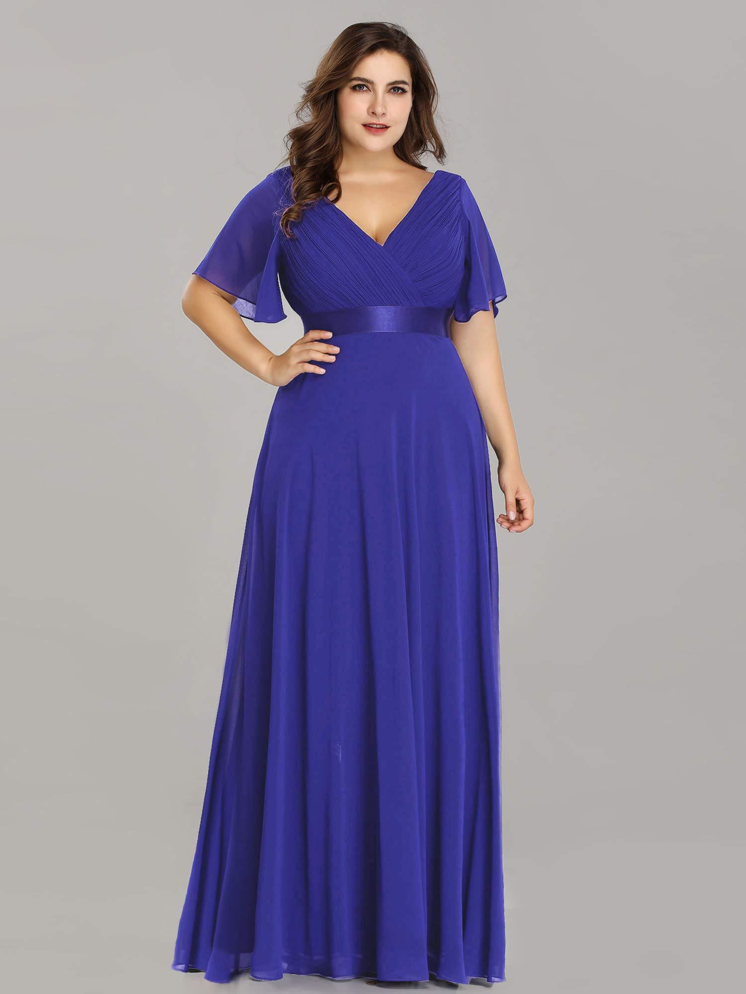 Ever-Pretty V-Neck Ruffle Sleeves Vintage Wedding Maxi Dress Plus Size  Royal Blue US24