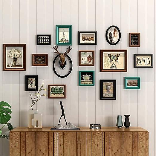 LHNLY-Photo Frames Moderno Marco de Fotos de Madera para Collage de Pared | Marco de combinación de múltiples imágenes | Marco de Fotos para Sala de Estar Escalera Fondo de Pared Deco: