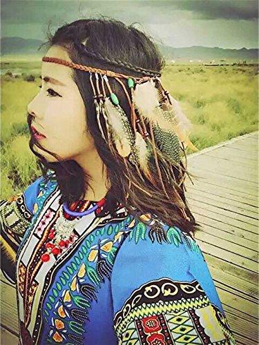 Brazilian Showgirl Costume (LittleB Bohemia Peacock Feather headband Indian headpiece for women.)