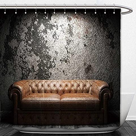 Beshowere Shower Curtain leather sofa in dark room - Homestyles Leather Sofa