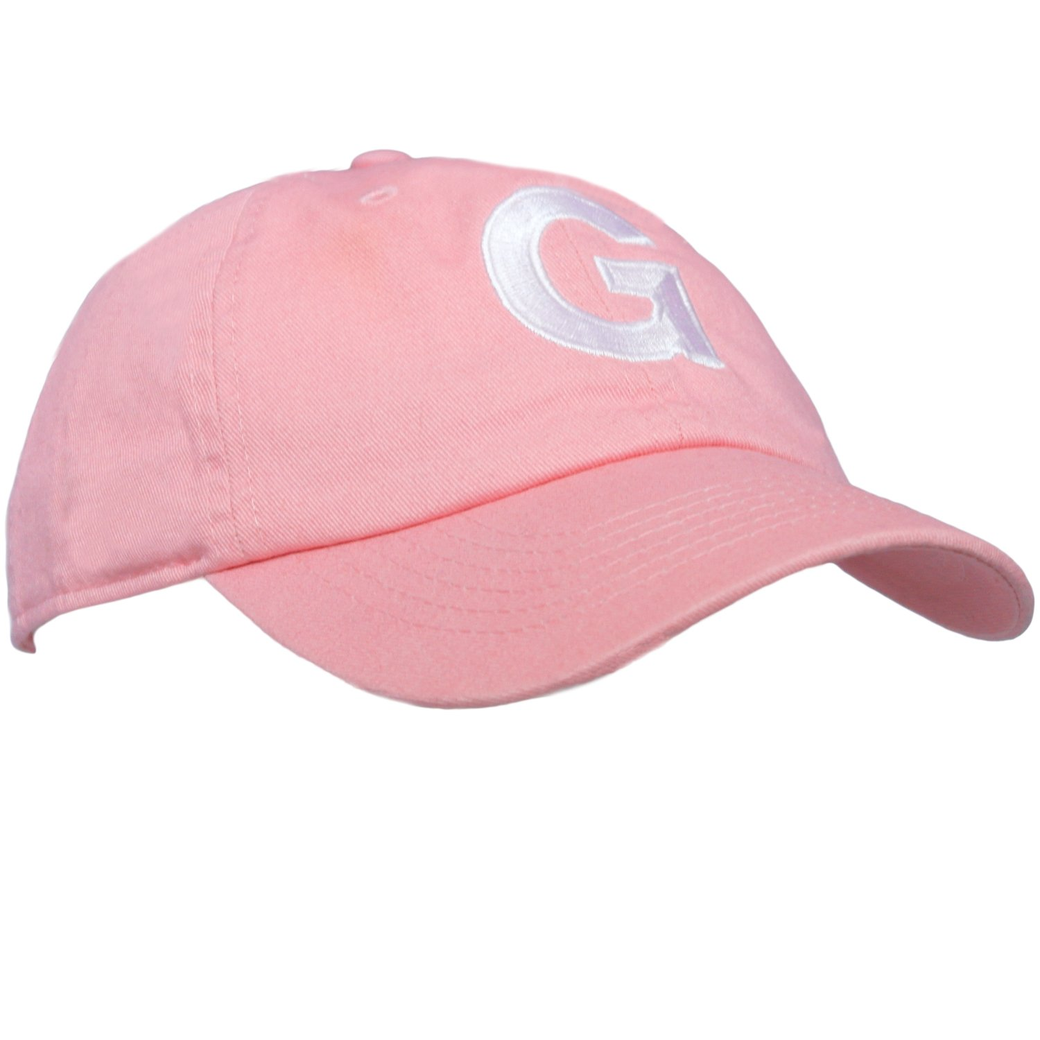 Tiny Expressions Toddler Girls' Pink Embroidered Initial Baseball Hat Monogrammed Cap (G, 2-6yrs)