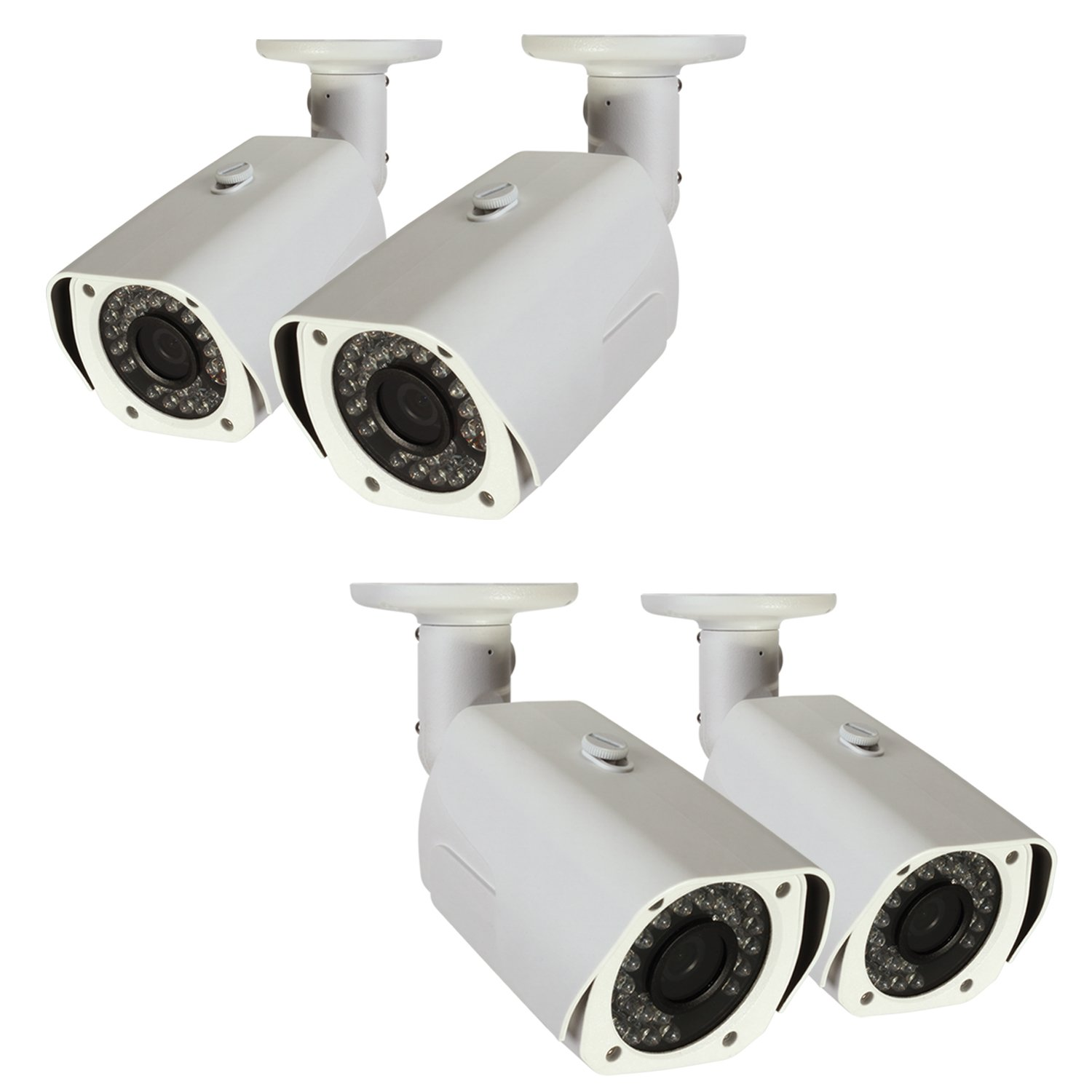 Q-See QCA7201B-4 720p High Definition Analog, Metal Housing, Bullet Security Camera 4-Pack (White)