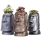 SUN-E 4.75Inch Mini Succulent/Cactus Plants Pot Easter Island Statue Style Sandstone Resin Desktop Organizer Container Candle Holder Pen Pencil Holder/3 In Set(With A Hole)