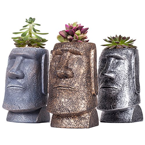 SUN-E 4.75Inch Mini Succulent/Cactus Plants Pot Easter Island Statue Style Sandstone Resin Desktop Organizer Container Candle Holder Pen Pencil Holder/3 In Set(With A Hole) by SUN-E
