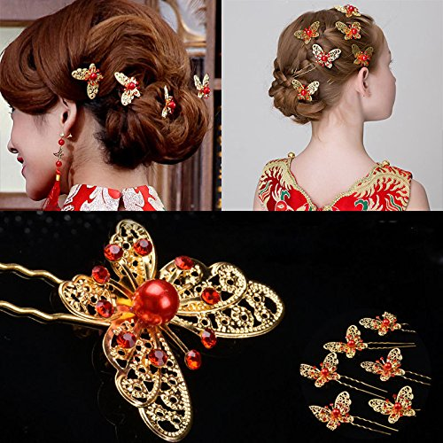 Crystal Rhinestones Trinket Butterfly Hair Clips Hairpins Bride Headdress 20pcs