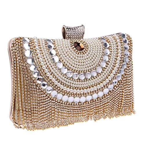 Color Evening Bags Bags bag Fringe evening Dinner Bags Upscale Gold Women's Fly Red Party ARqw6p