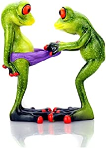 3D Creative Statues Green Frog Figures Figurines, Funny & Cute Frog Statue