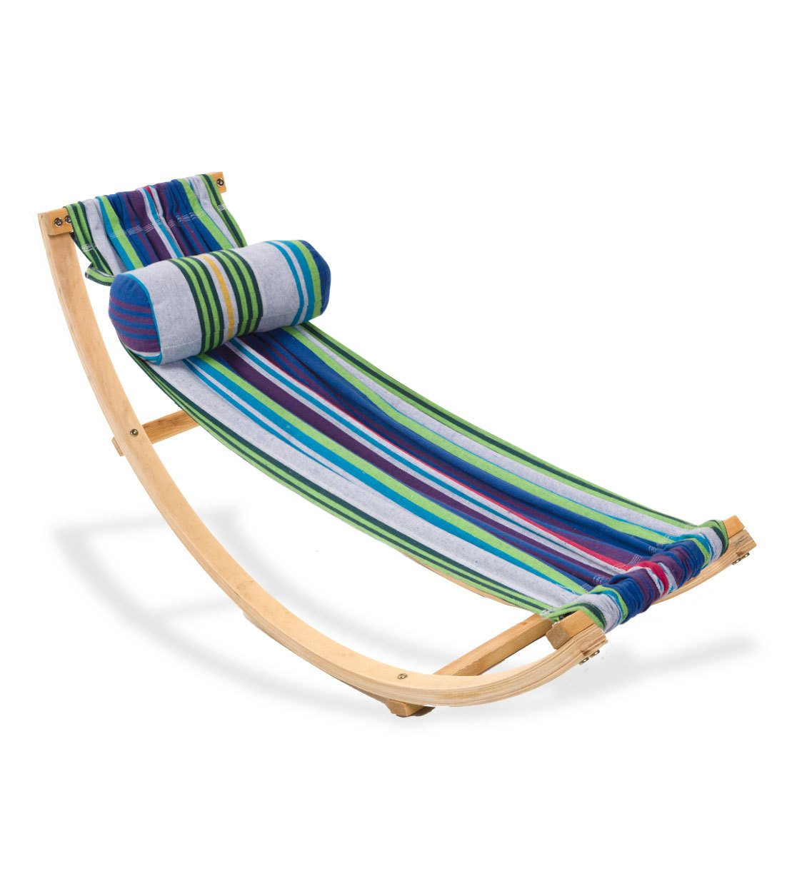 Children's Compact Rocking Floor Hammock with Wood Frame and Cotton Fabric - Reading, Lounging, and Sensory Rocker - 50 L x 14 W by Magic Cabin