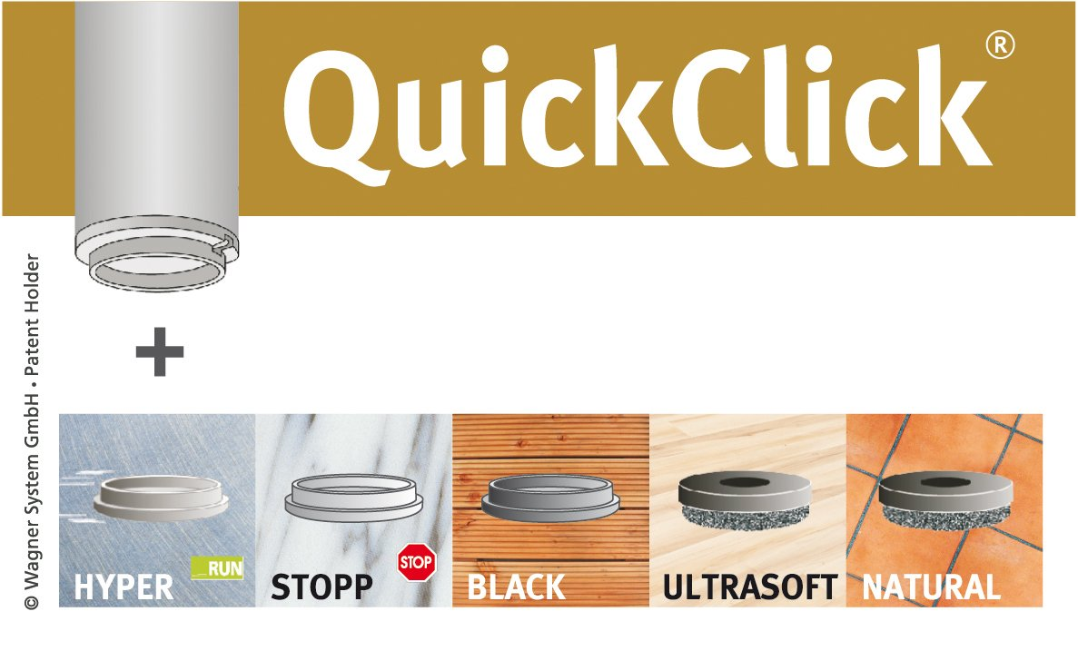 Wagner QuickClick/® Feltrini////Set di Piedino Regolabile con Perno Filettato M10/X 25////Hyper/ /Diametro 30/mm/ /15832500